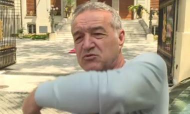 Gigi Becali în fața palatului din Aleea Alexandru