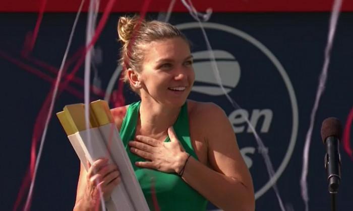 Simona Halep trofeu Rogers Cup 2018 reactie
