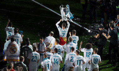 Real Madrid Celebrate After Victory In The Champions League Final Against Liverpool