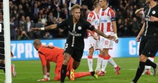 Neymar se bucură după marcarea unui gol